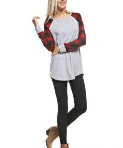 Plaid arm long sleeve grey bodice