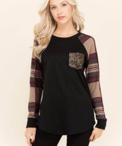 Plaid Sparkle Pocket Shirt from Bright-Eyed & Beautiful Fashion Boutique