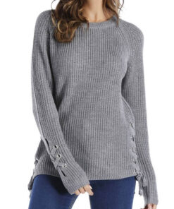 Lace-Up Sleeve Sweater shown in Heather Grey from Bright-Eyed & Beautiful Fashion Boutique