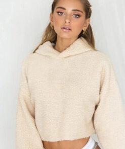 Fluffy Crop hooded beige sweater
