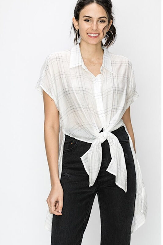 Plaid Maxi Top showing the front tied from Bright-Eyed & Beautiful Fashion Boutique