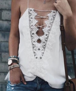 String Front Tank Top shown in white from Bright-Eyed & Beautiful Fashion Boutique