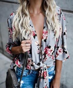Floral Tie Top shown in grey and pink floral design from Bright-Eyed & Beautiful Fashion Boutique