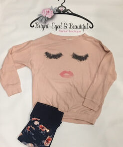 Lips & Lashes Top shown in peach, bright-eyes & beautiful boutique