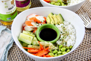 Shrimp sushi roll in a bowl