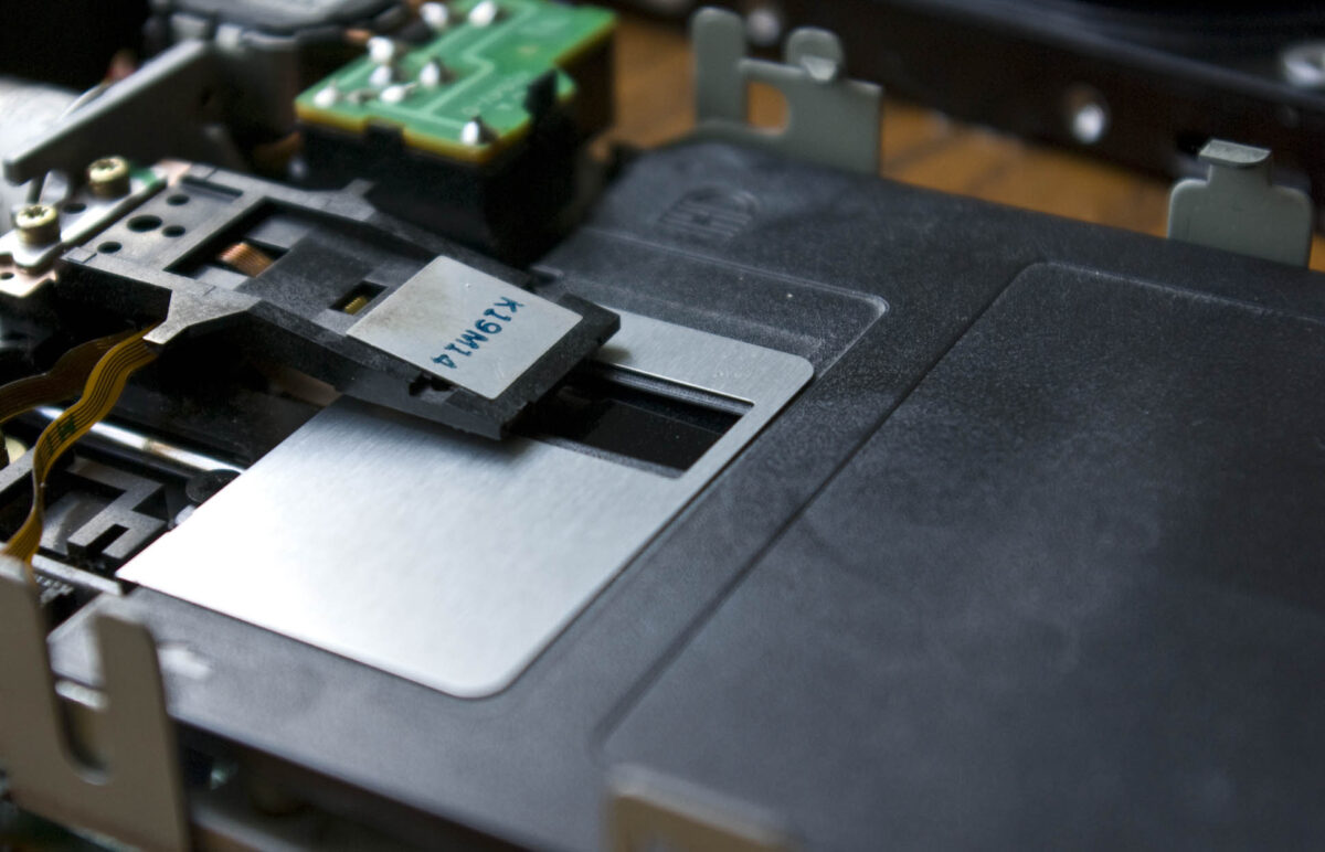 Close up of floppy disk drive