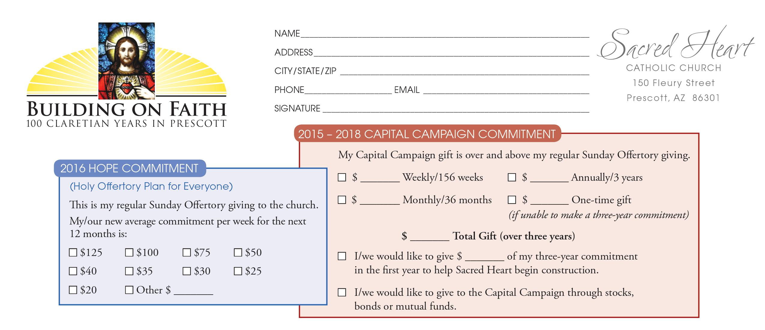 church capital campaign pledge card sample