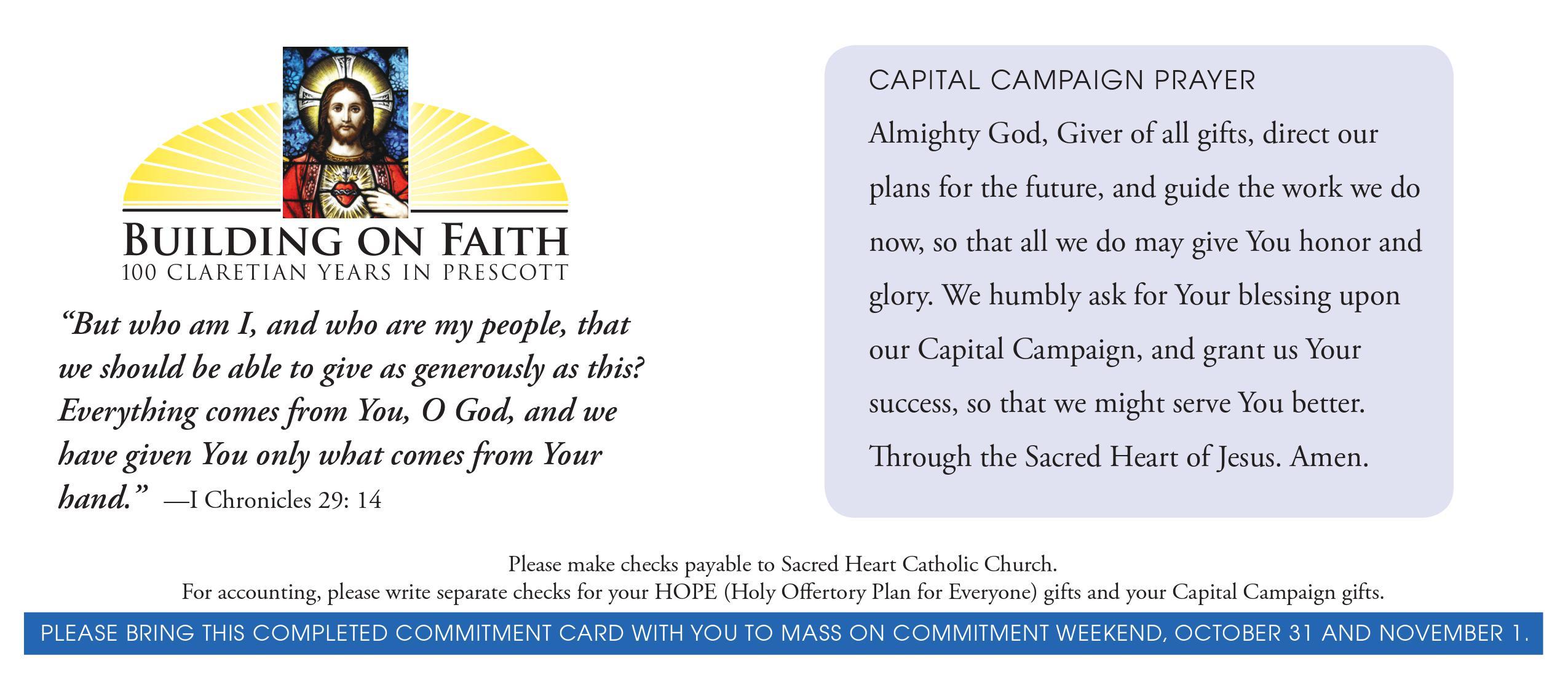 Church Capital Campaign Pledge Card