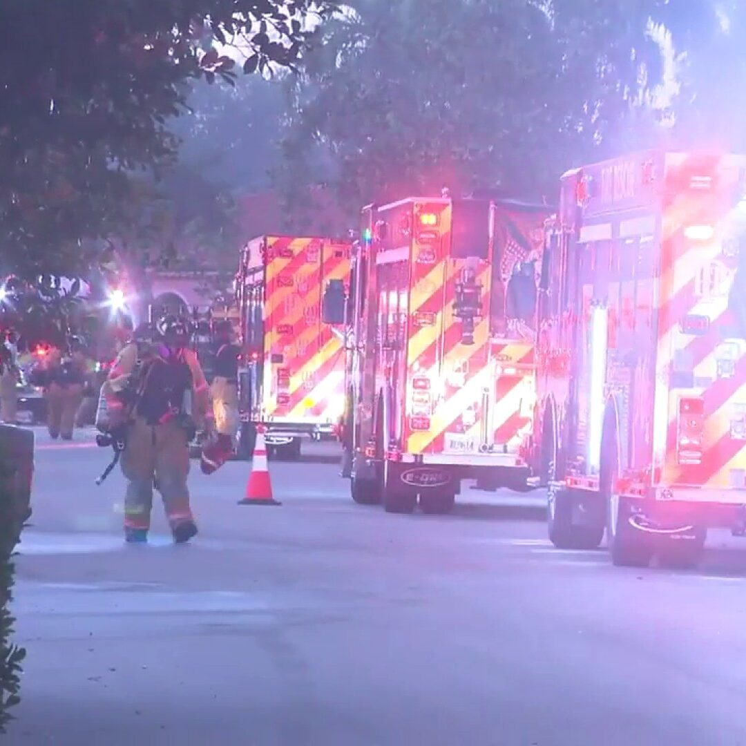 morning fire inside Plantation home