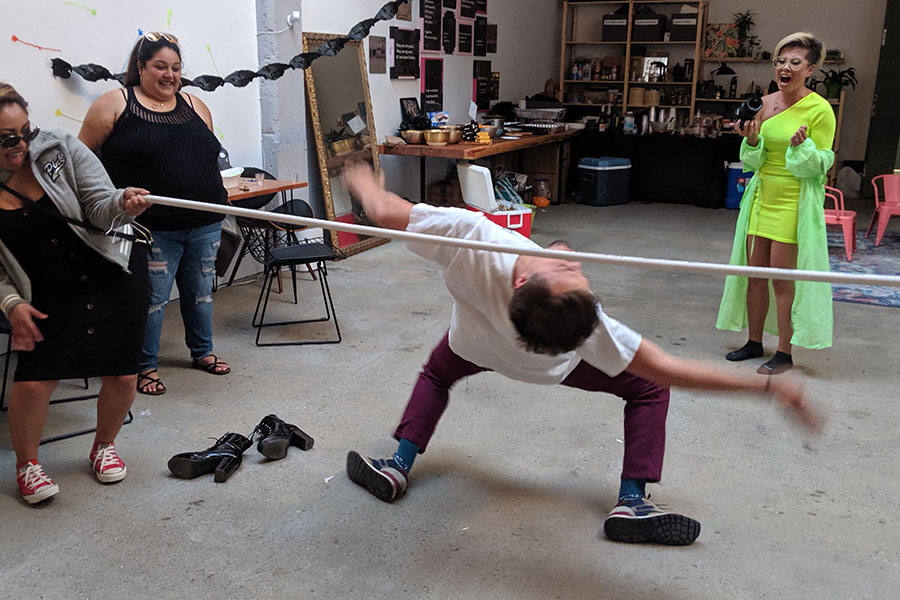 person limboing