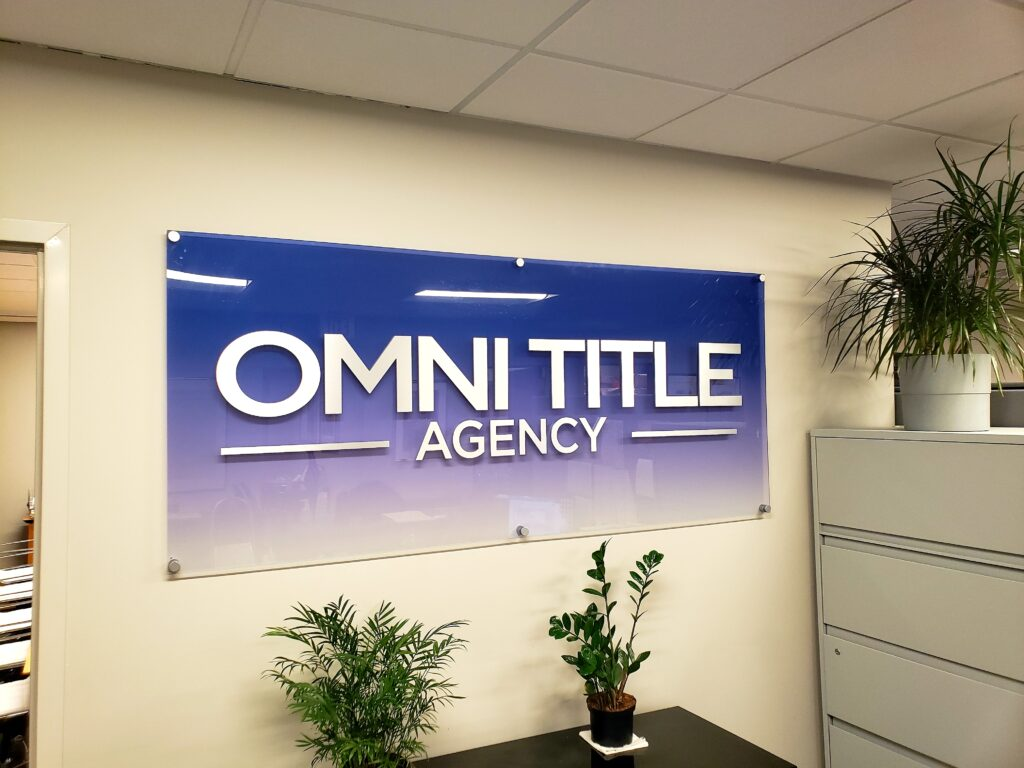 Acrylic panel lobby signs for title companies in Manhattan NY
