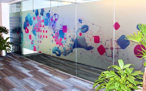 Frosted Printed Film for Privacy In Corporate Office Glass Conference Room