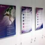 24 x 36 Printed Styrene Inserts into Custom Acrylic Frames with Wire Hardware