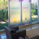 Printed Frost Dusted Crystal Material Applied to Experian Main Lobby Glass