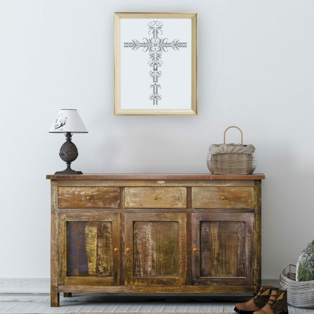 Console table with Name Cross above it