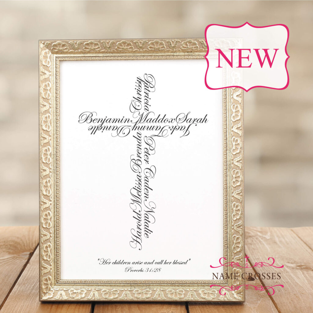 Gold frame with name cross