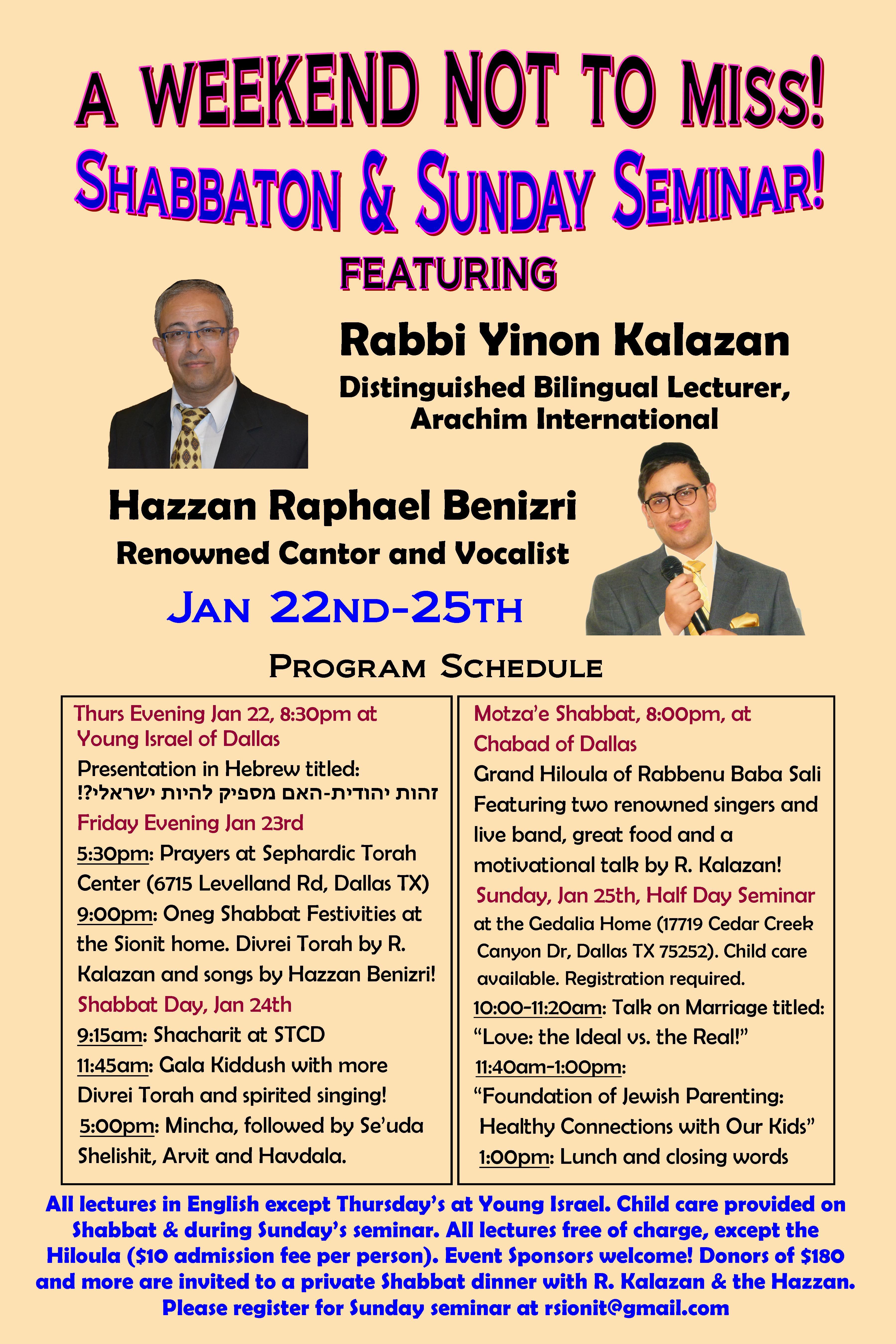 Rabbi Kalazan & Benizri Shabbbaton Flier
