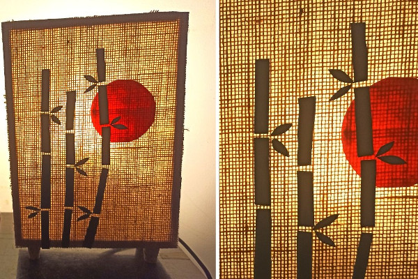 DIY wooden table lamp with bamboo art