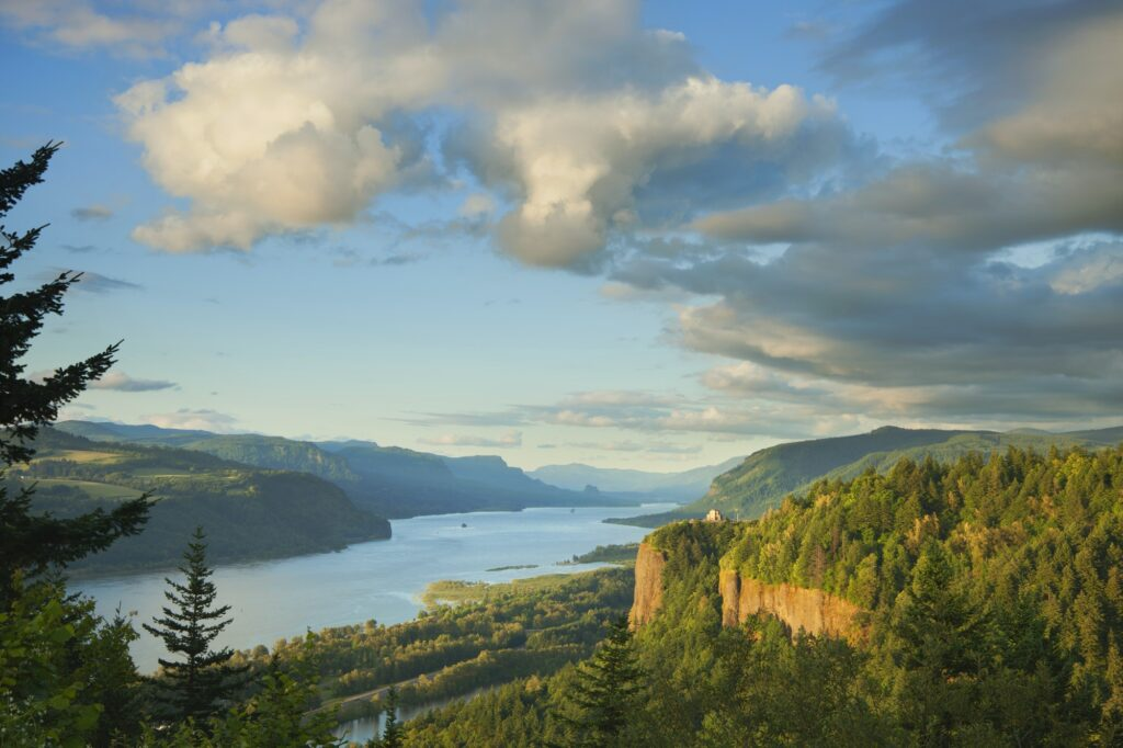 Columbia River and Hills in Oregon in Late Afternoon Light