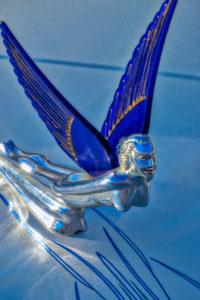 classic, car, automobile, hood, ornament, Blue, Winged, Goddess