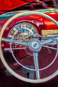 classic, car, automobile, Chrysler, dashboard, steering wheel, red