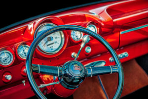 classic, car, automobile, Ford, dashboard, steering wheel