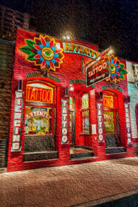 Tattoo, parlor, red, Austin, Texas, Affinity, exterior, digital, painting
