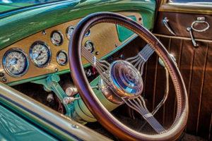 classic, car, automobile, vintage, dashboard, steering wheel, antique, V8
