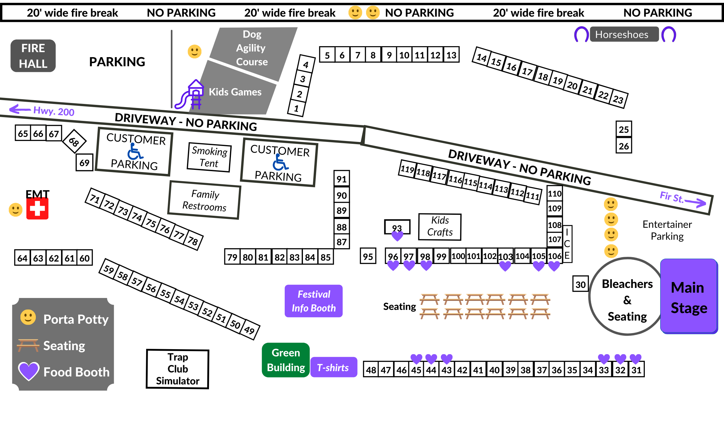 Map of Huckleberry Festival Layout