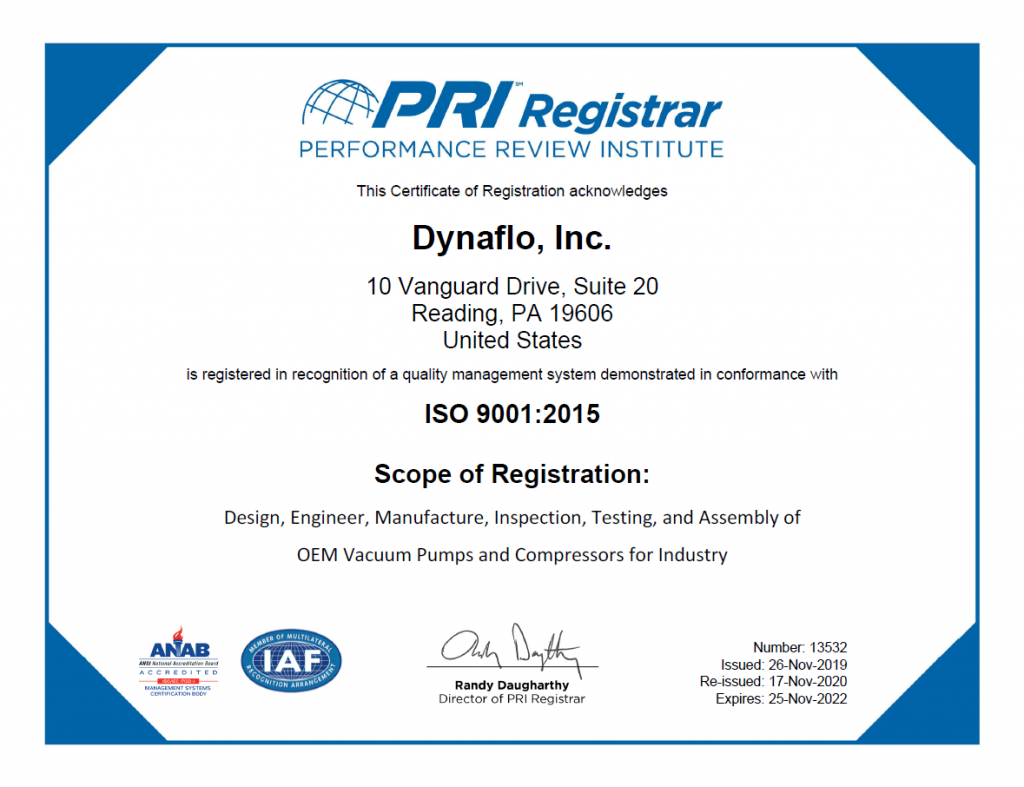 dynaflo iso 9001 2015 standard quality system certificate accredited certified