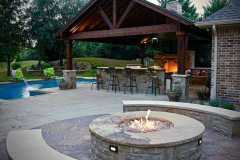 Outdoor-Living-Project-Custom-patio-with-outdoor-Kitchen-outdoor-fire-place-and-seperate-seating-area-with-fire-pit-in-The-Woodlands-Texas.-JM-Outdoor-Living