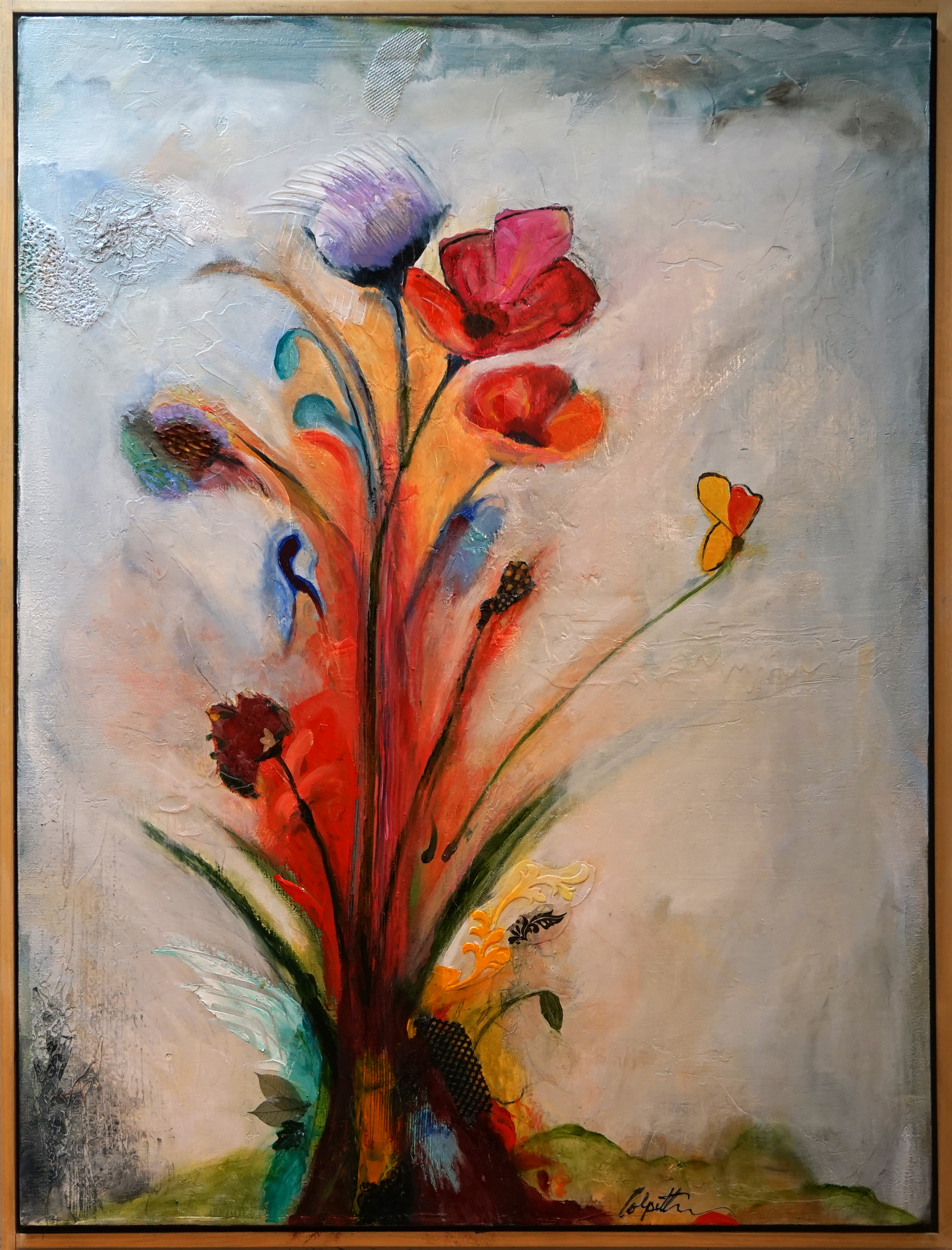 bouquet painting, Michael Colpitts paintings, Mixed Media on Canvas, abstract painting of flowers, modern abstract paintings, original abstract paintings, large abstract paintings, abstract paintings on canvas Large Painting Mixed Media on Canvas Wall Art Abstract Simplistic, Mixed Media on Canvas, colorful abstract paintings, large abstract paintings for sale, bold paintings, modern paintings