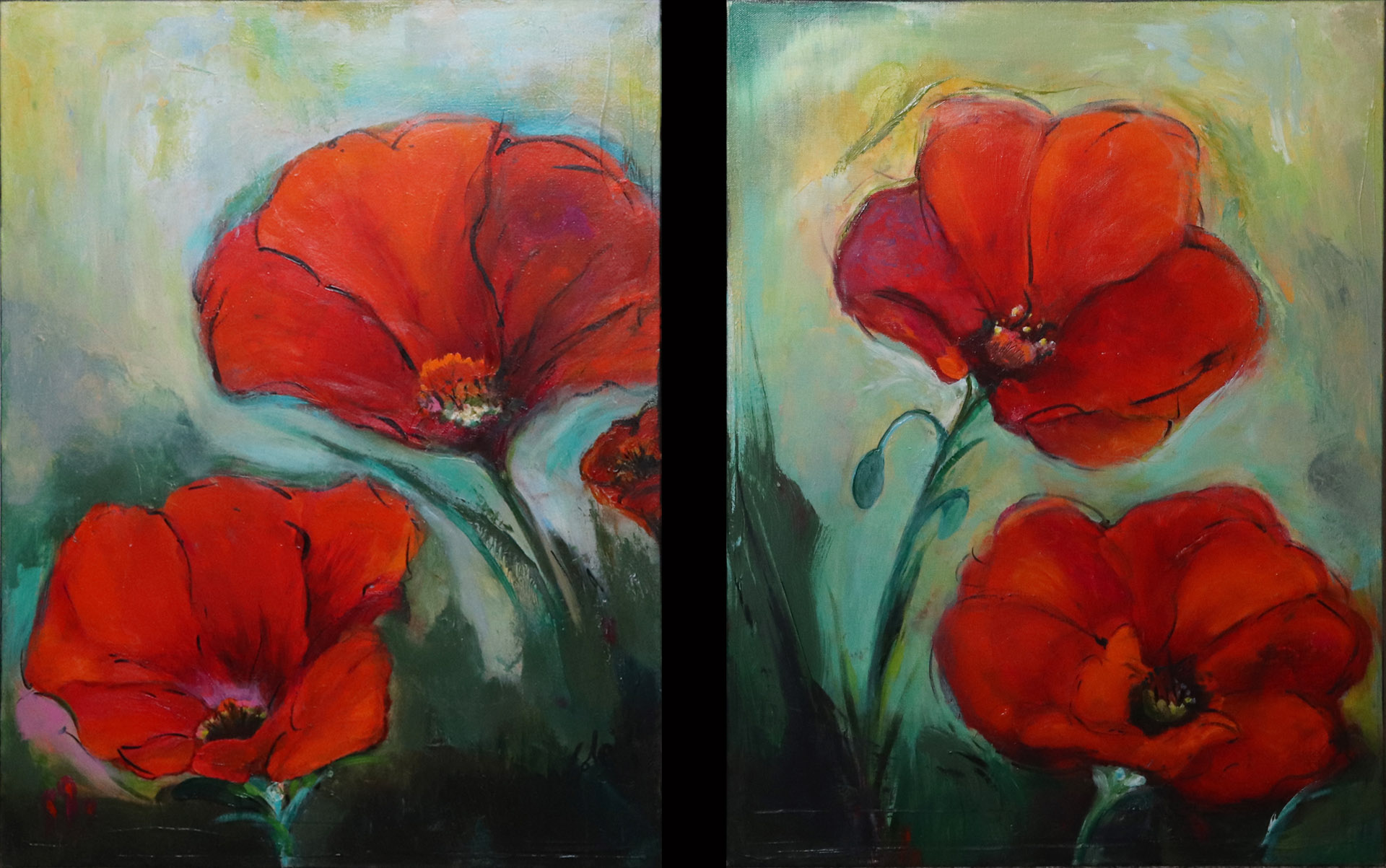 Paintings that go well together, liquid acrylic painting, poppy painting, red abstract art, Michael Colpitts paintings, Mixed Media on Canvas, abstract painting of flowers, modern abstract paintings, original abstract paintings, large abstract paintings, abstract paintings on canvas