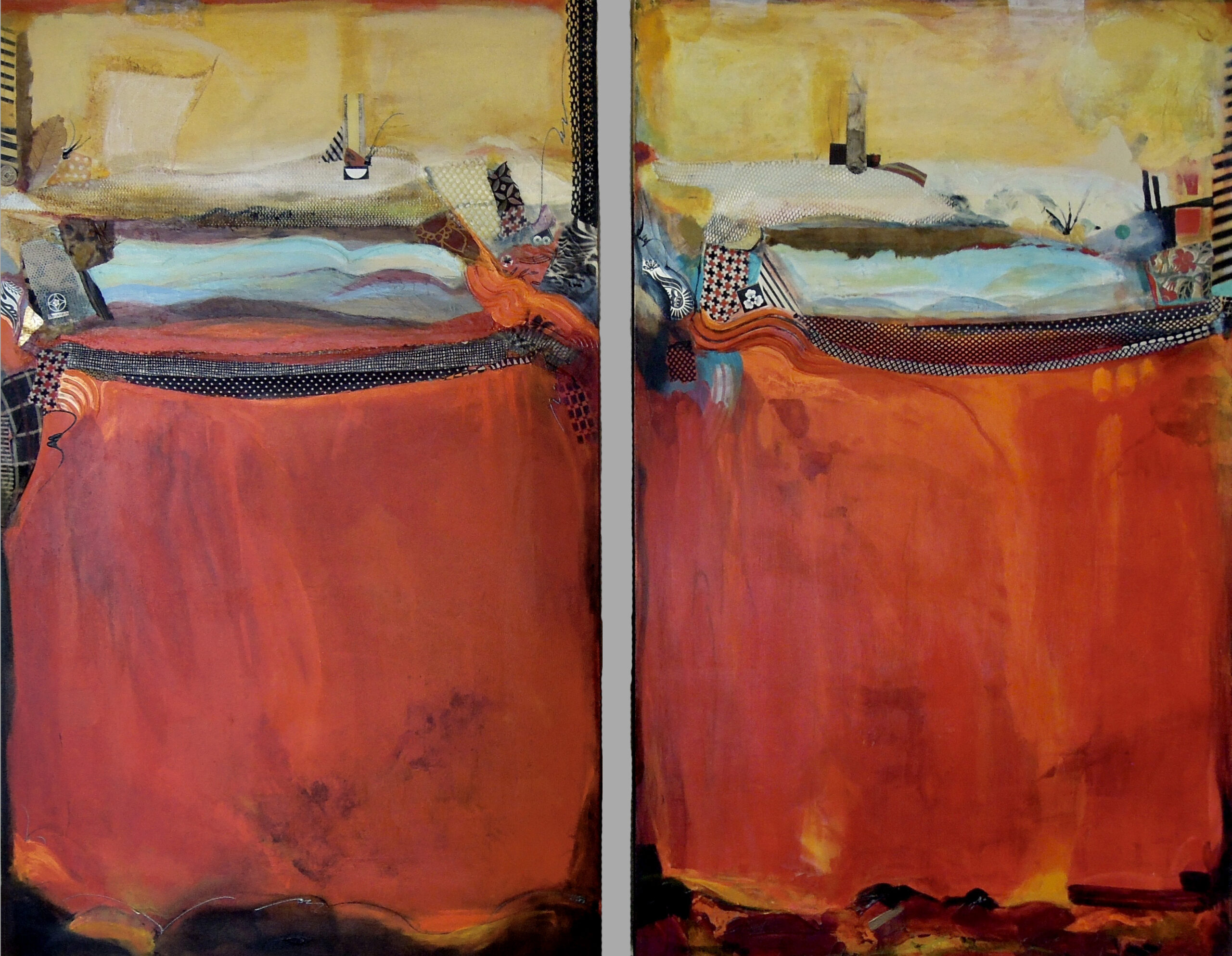 liquid acrylic painting, red abstract art, sunset painting, Michael Colpitts paintings, Large Painting Mixed Media on Canvas Wall Art Abstract Simplistic Matching Multiple Paintings