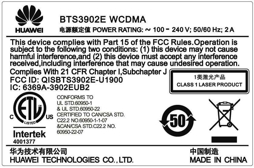 02310DSRM01_BTS3902E WCDMA AC 100-240V 2A 1.9G