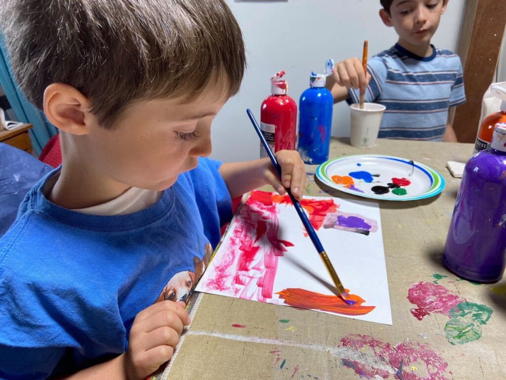two boys painting at Art by Mary Case Studio and Gallery