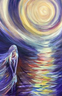 Spiritual figure painting with sun by Mary Case