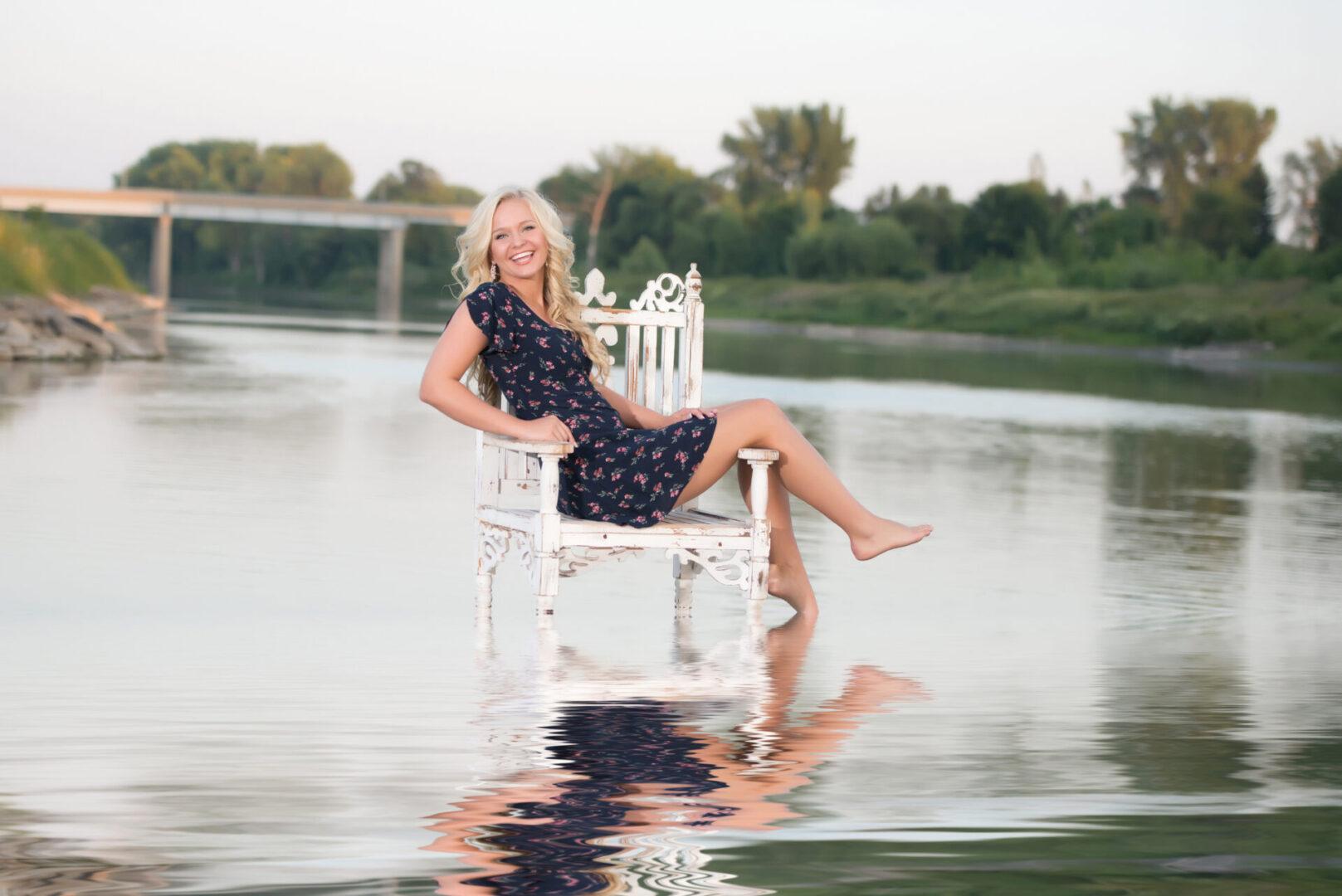 Senior Girl In Water