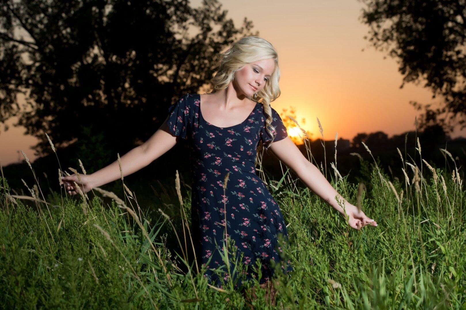 Senior Girl with sunset