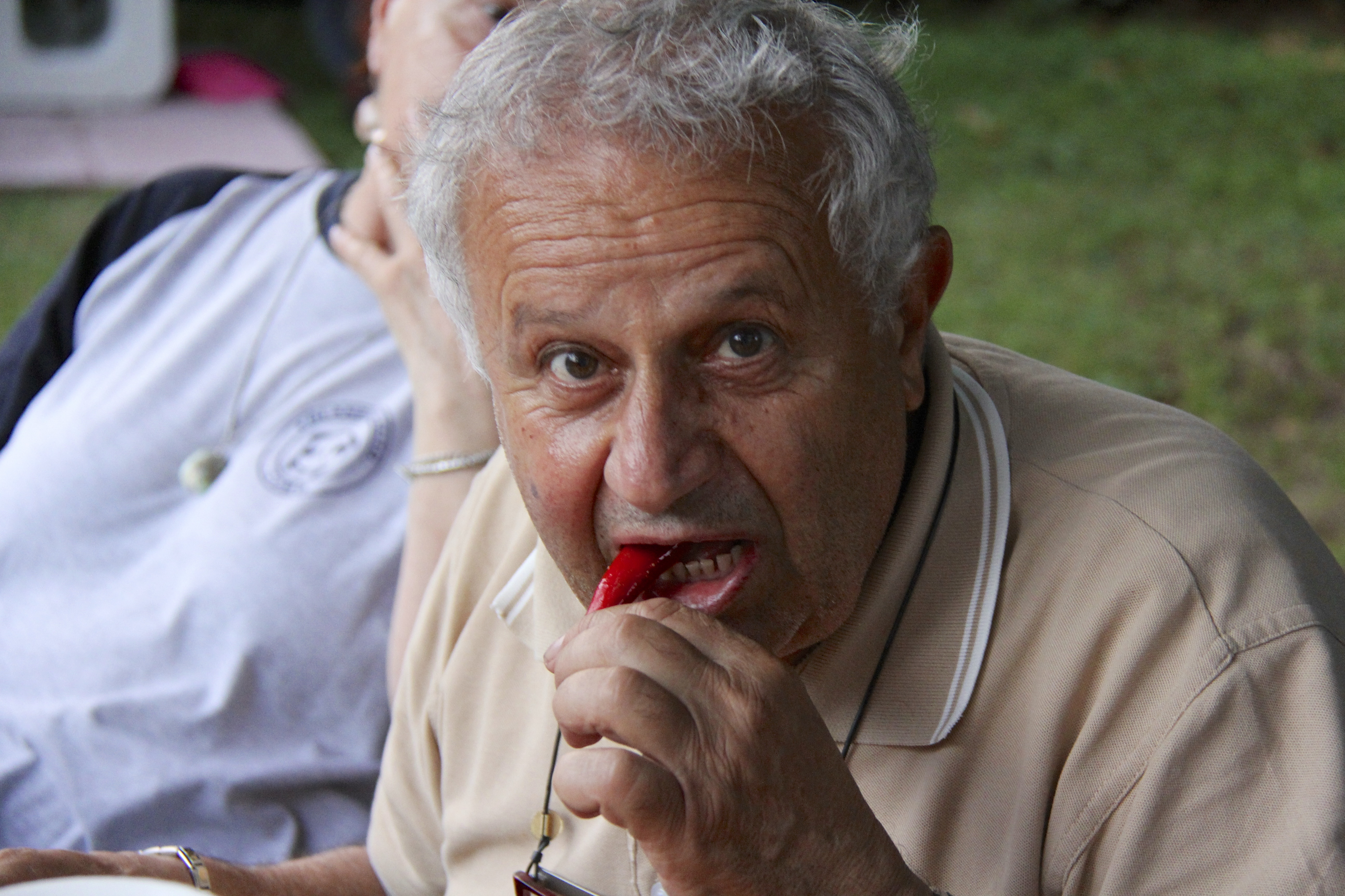 Franco Shows His Manliness By Chomping a Hot Pepper