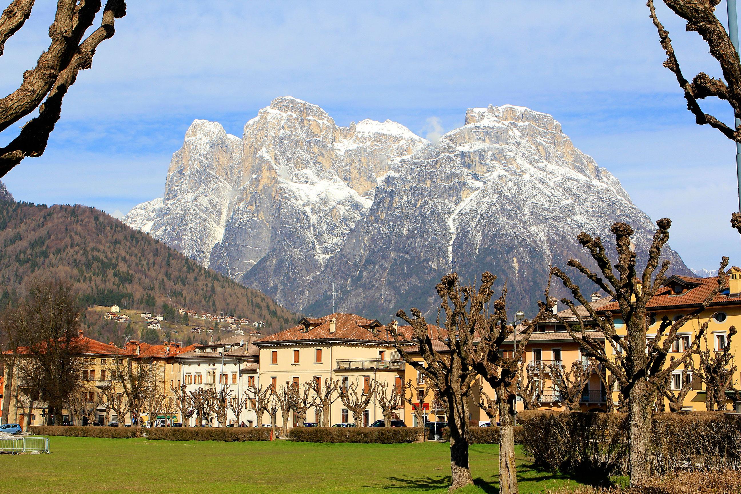 Dolomite Mountains Surround the Capital City of Agordo