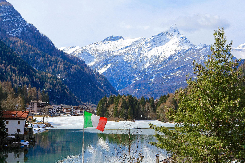Italian Flag Flies Over Lago di Alleghe
