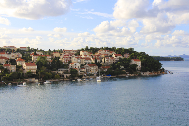 The view from our balcony when we arrived in port.  This is the more modern part of Dubrovnik