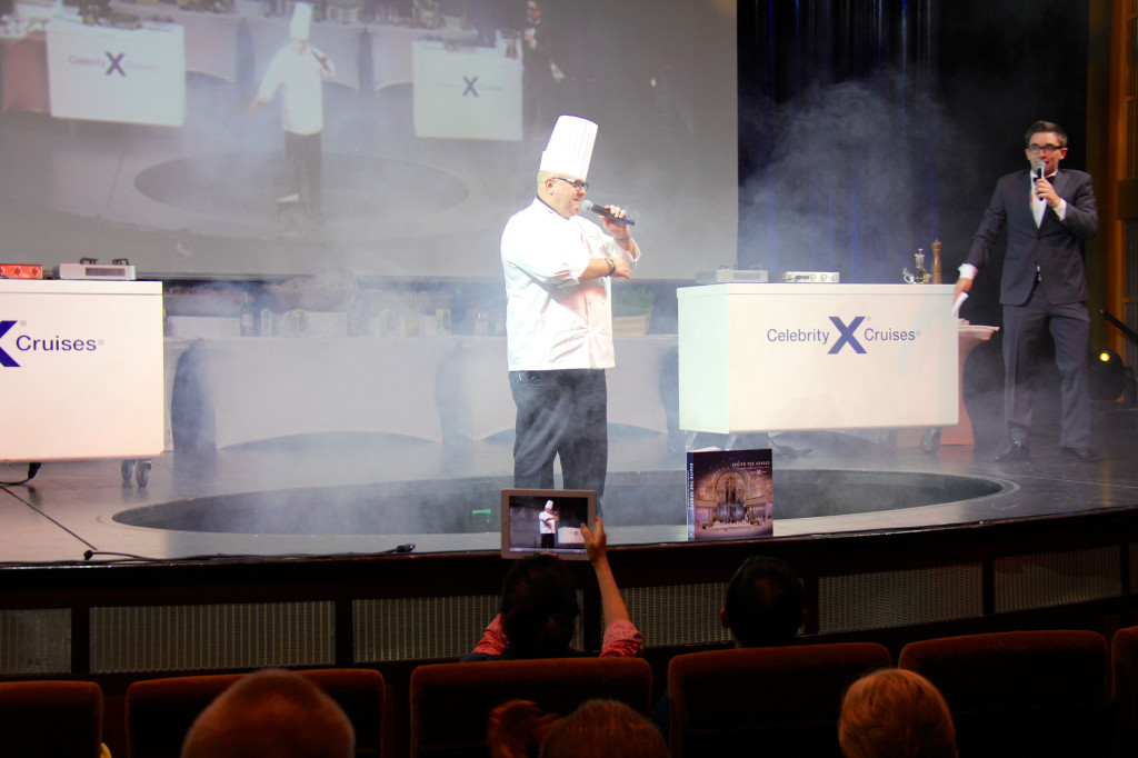 The chef's are like rock stars.  Here, our Executive Chef (Anthony R. Wilson) ascends through the stage floor like he's Mick Jagger