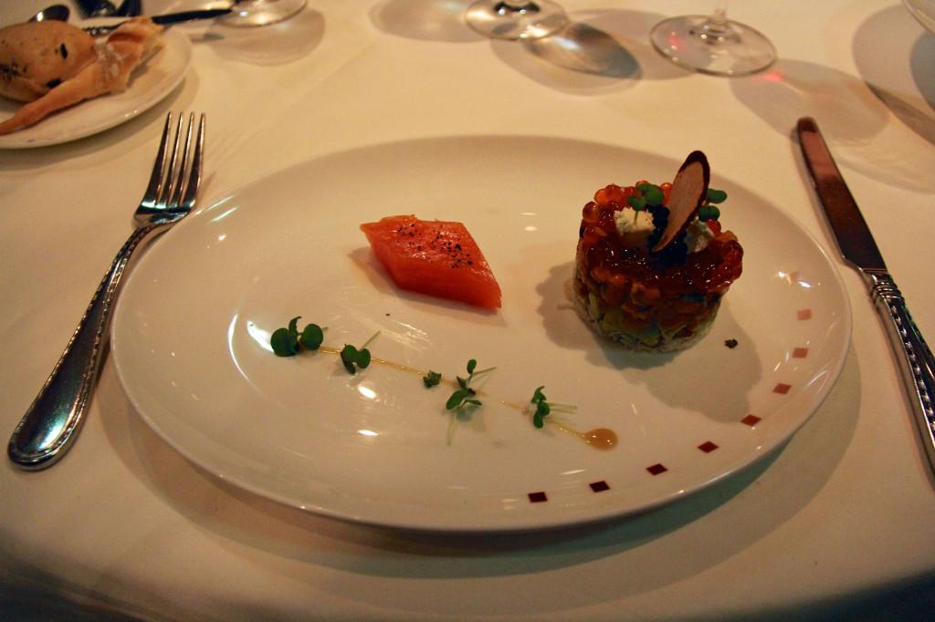Smoked Salmon & Peekytoe Crab Parfait - Layered with Avocado, Salmon Caviar, Crème Fraîche, Petite Greens