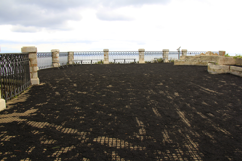 The black soot from the explosion of Mount Etna covered the entire area