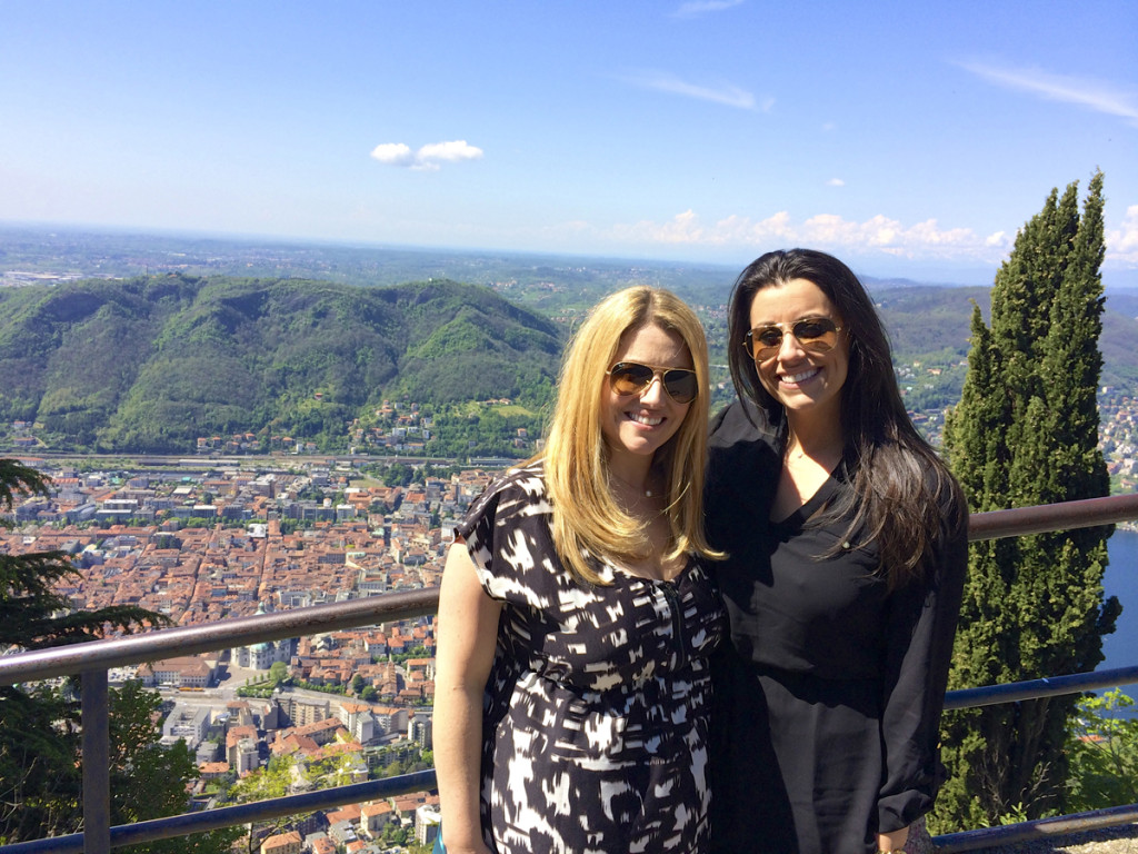 Jen and her younger sister, Jessica overtop Lake Como