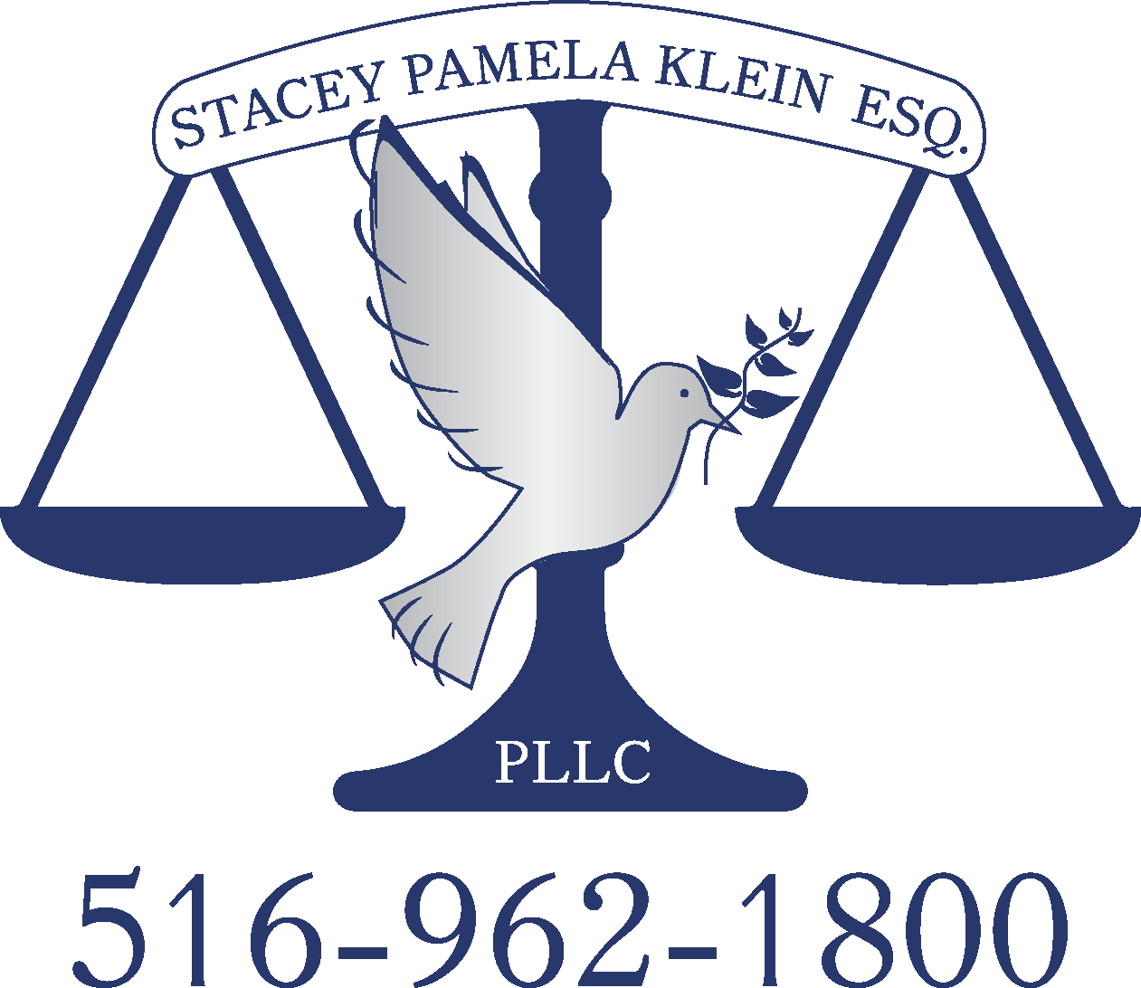 Stacey Pamela Klein Esq. PLLC logo - a blue scale of justice with a grey dove in front of it, holding a blue olive branch. Company name and phone number are included.