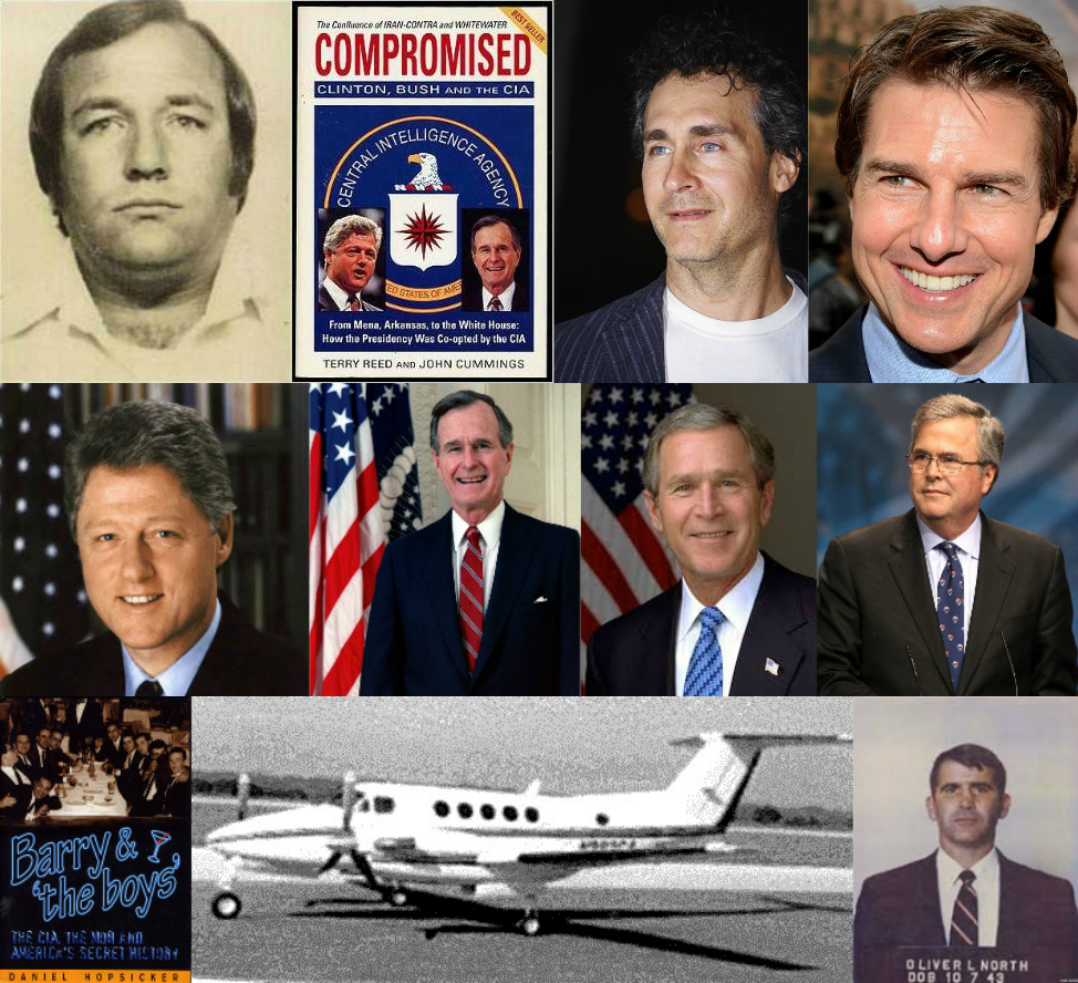 (From top left) Barry Seal, Compromised, Doug Liman, Tom Cruise, Bill Clinton, H.W. Bush, G.W. Bush, Jeb Bush, Barry & 'the boys', Beechcraft King Air, Lt. Col. Oliver North