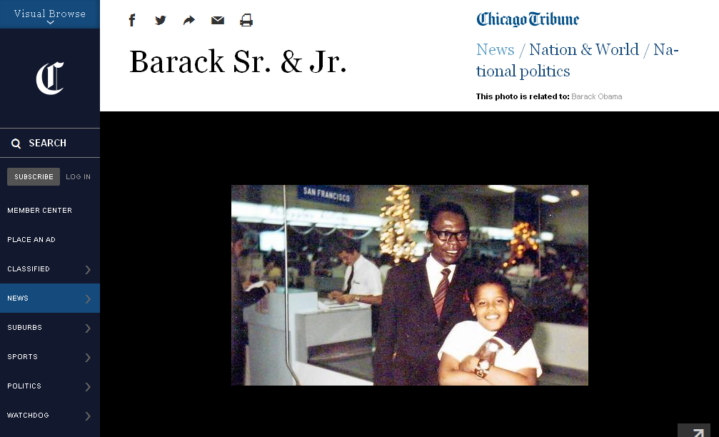 Screenshot of the Chicago Tribune website featuring the image of Barack Obama Sr. and Jr. The bottom of the image appears to have been cropped in such a way that the fingernails of Obama Sr. are not visible. The top and side of the image do not appear to have been cropped. (Image source: ChicagoTribune.com)